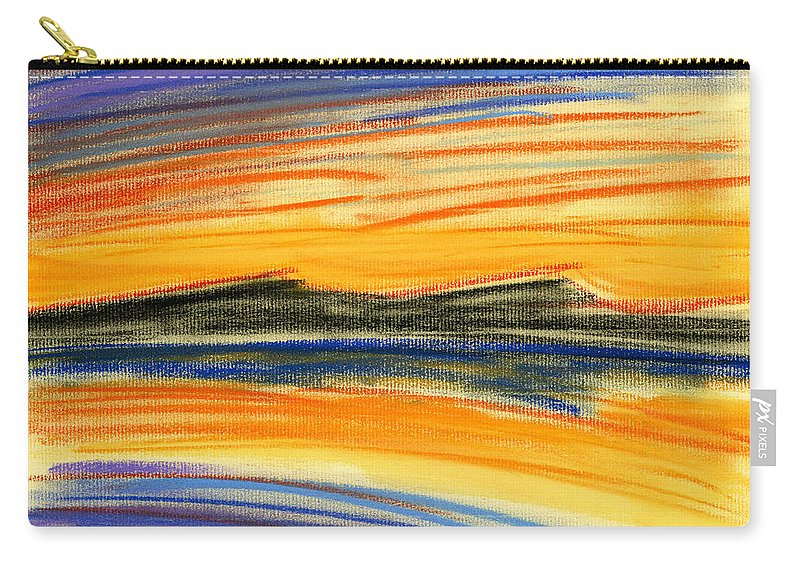 Sunset Carry-all Pouch featuring the painting Sunset On The Lake by Hakon Soreide