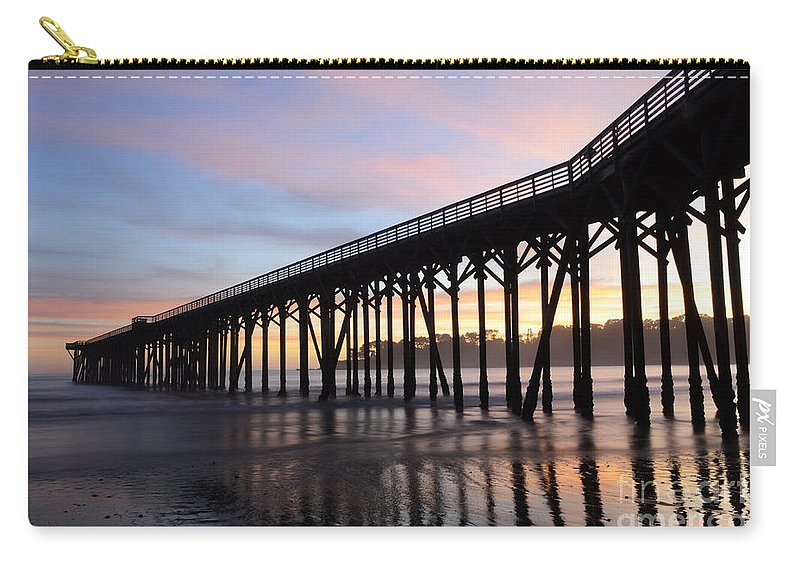 Pier Carry-all Pouch featuring the photograph Sunset Pier San Simeon California 2 by Bob Christopher