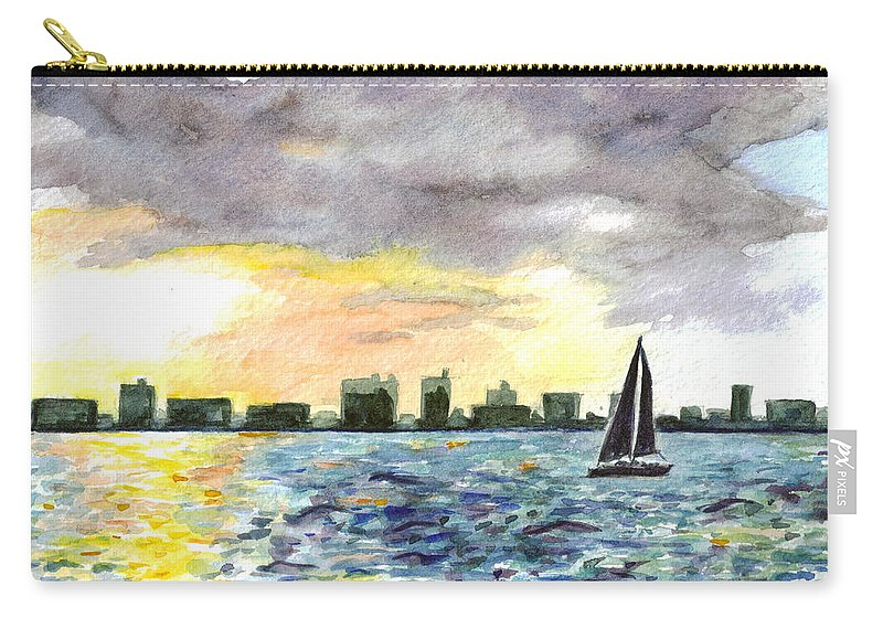 City Scape Carry-all Pouch featuring the painting Sunset Sail by Clara Sue Beym