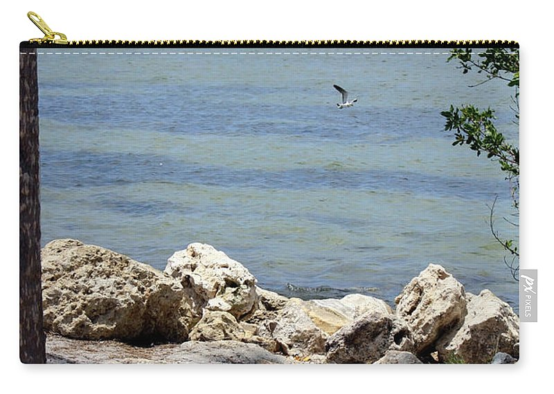 Sunshine Skyway Bridge Carry-all Pouch featuring the photograph Sunshine Skyway From The Causeway by Carol Groenen