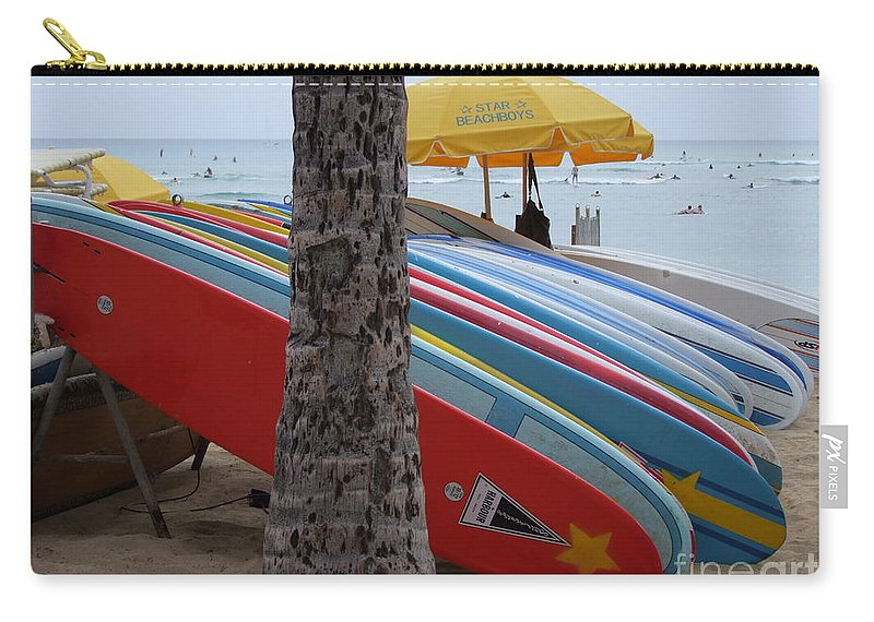 Mary Deal Carry-all Pouch featuring the photograph Surfboards On Waikiki Beach by Mary Deal