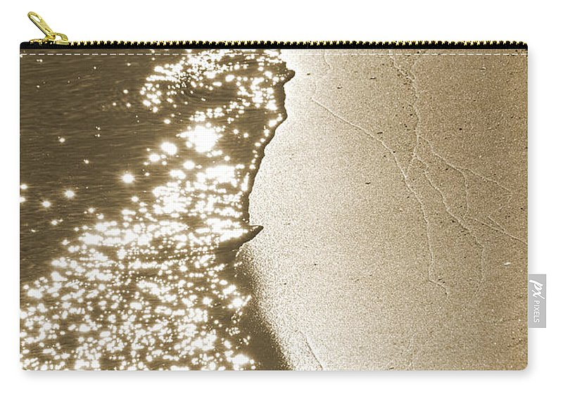 Waterline Carry-all Pouch featuring the photograph Surfs Edge In Sepia by Christine Stonebridge