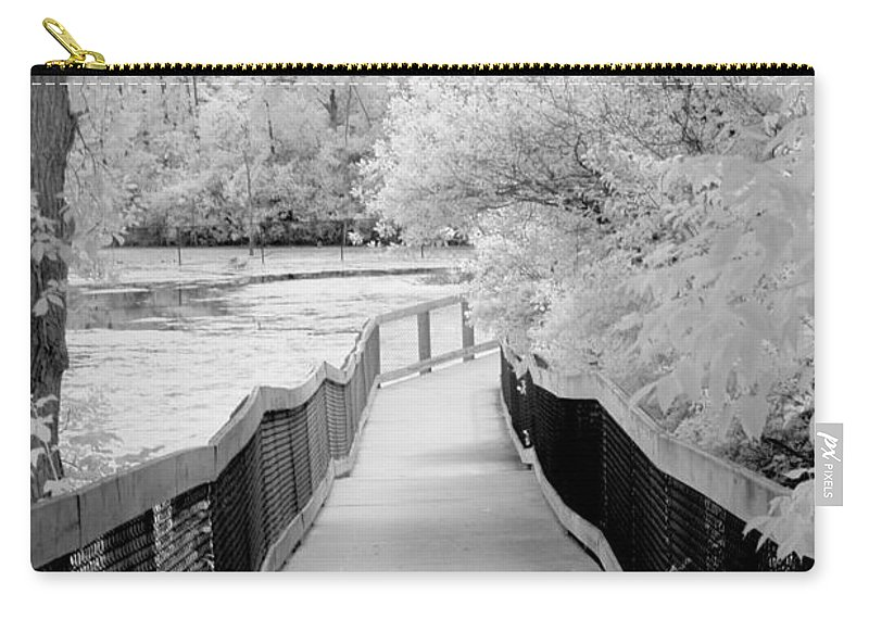 Infrared Carry-all Pouch featuring the photograph Infrared Surreal Black White Infrared Bridge Walk by Kathy Fornal