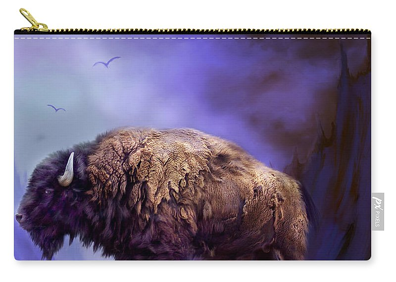 Buffalo Carry-all Pouch featuring the mixed media Survivor by Carol Cavalaris