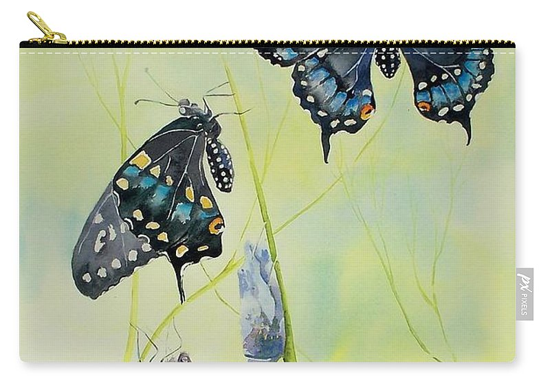 Butterfly Carry-all Pouch featuring the painting Swallowtail Story by Celene Terry