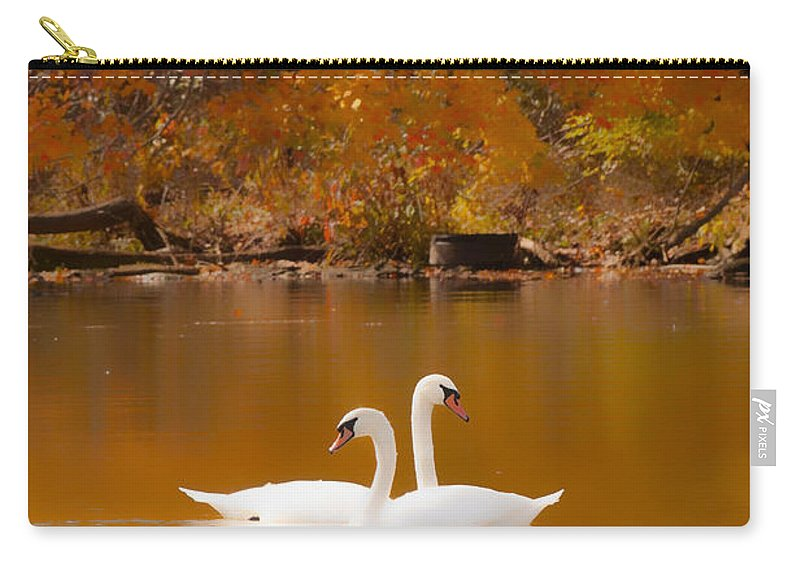 Swans On Carry-all Pouch featuring the photograph Swans Soft And Smooth by Randall Branham