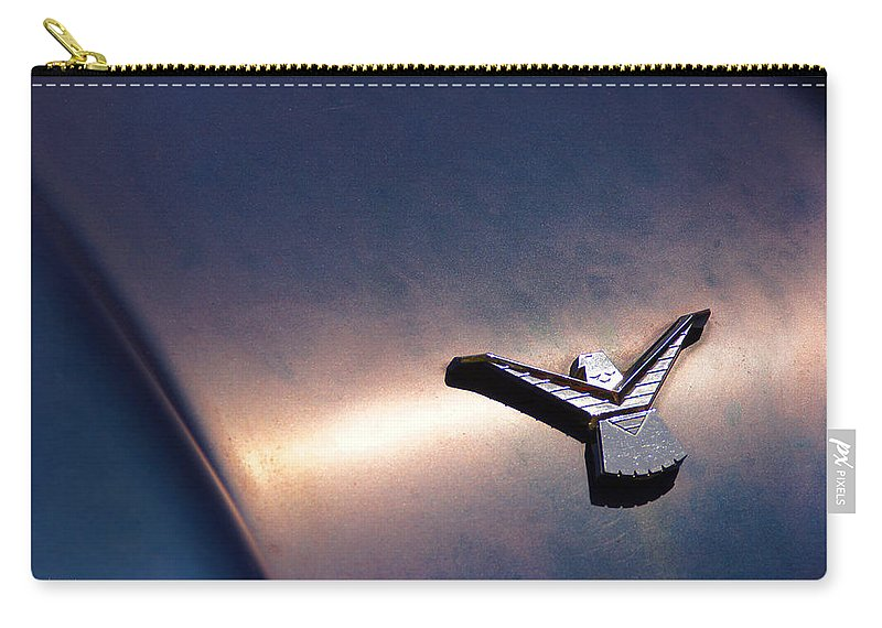 Thunderbird Carry-all Pouch featuring the photograph T Bird Emblem by Mick Anderson
