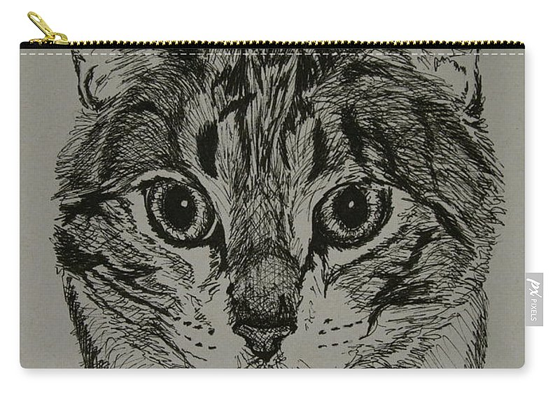 Tabby Cat Carry-all Pouch featuring the drawing Tabby by Susan Herber