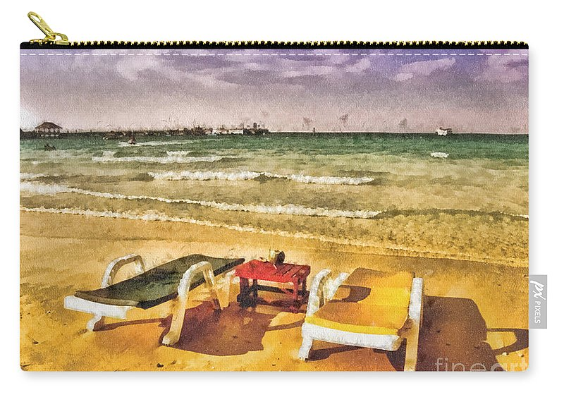 Table For Two Carry-all Pouch featuring the painting Table For Two by Mo T