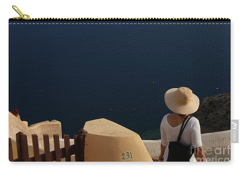 Greece Carry-all Pouch featuring the photograph Taking In The View Santorini by Bob Christopher