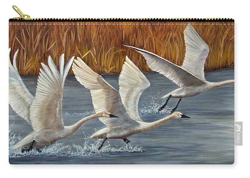 Swan Carry-all Pouch featuring the painting Taking Off by Dee Carpenter