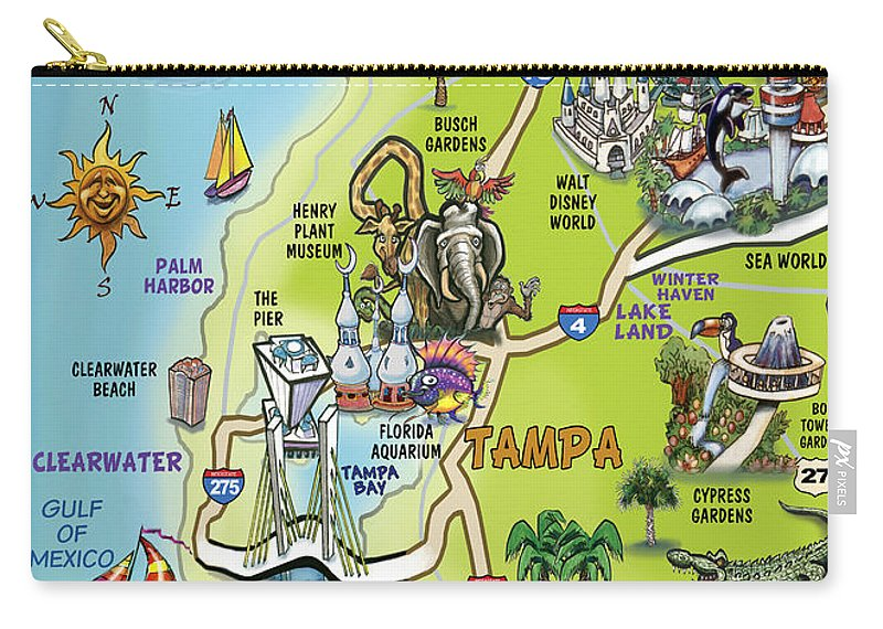 Tampa Florida Cartoon Map Carry-all Pouch on