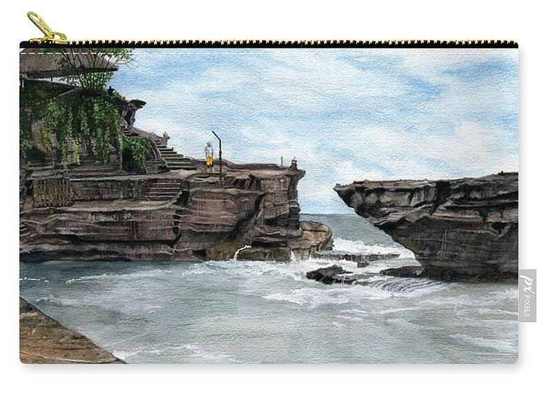 Bali Carry-all Pouch featuring the painting Tanah Lot Temple II Bali Indonesia by Melly Terpening