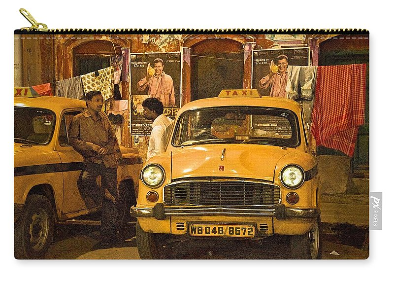 Taxis Carry-all Pouch featuring the photograph Taxi Talk by Valerie Rosen