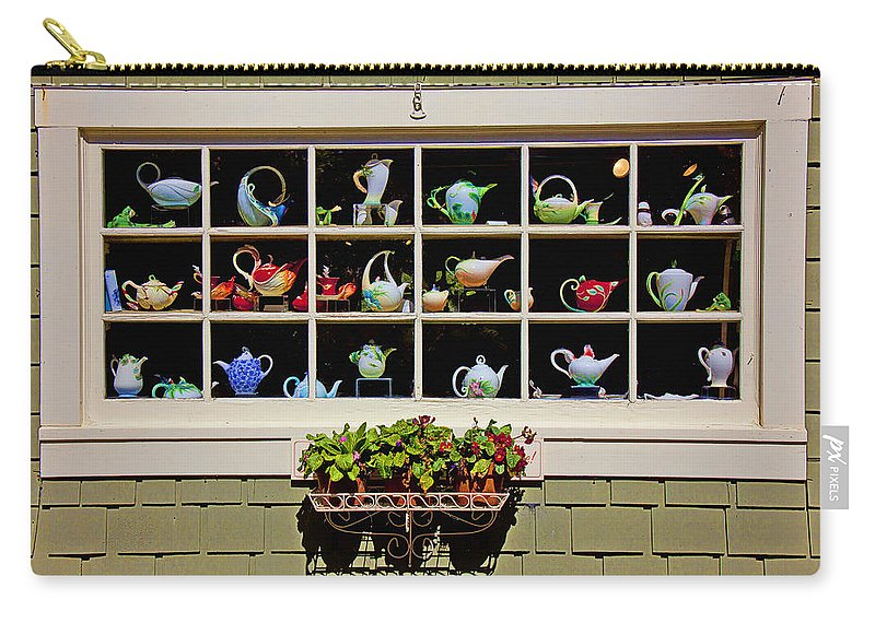 Tea Pots Window Carry-all Pouch featuring the photograph Tea Pots In Window by Garry Gay