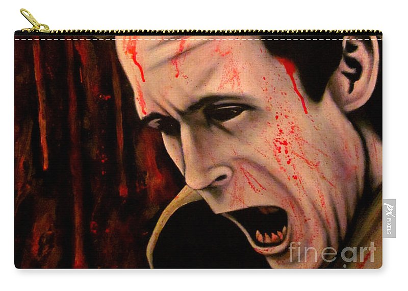 Serial Killer Carry-all Pouch featuring the painting Ted Bundy by Justin Coffman