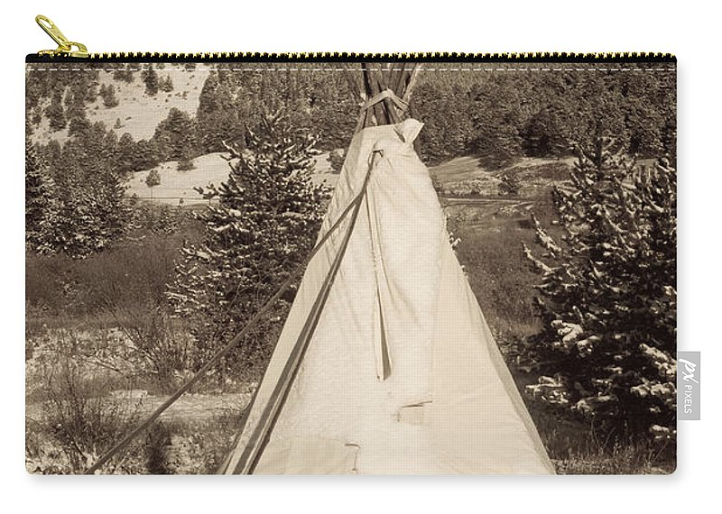 Native Carry-all Pouch featuring the photograph Teepee In The Snow by James BO Insogna