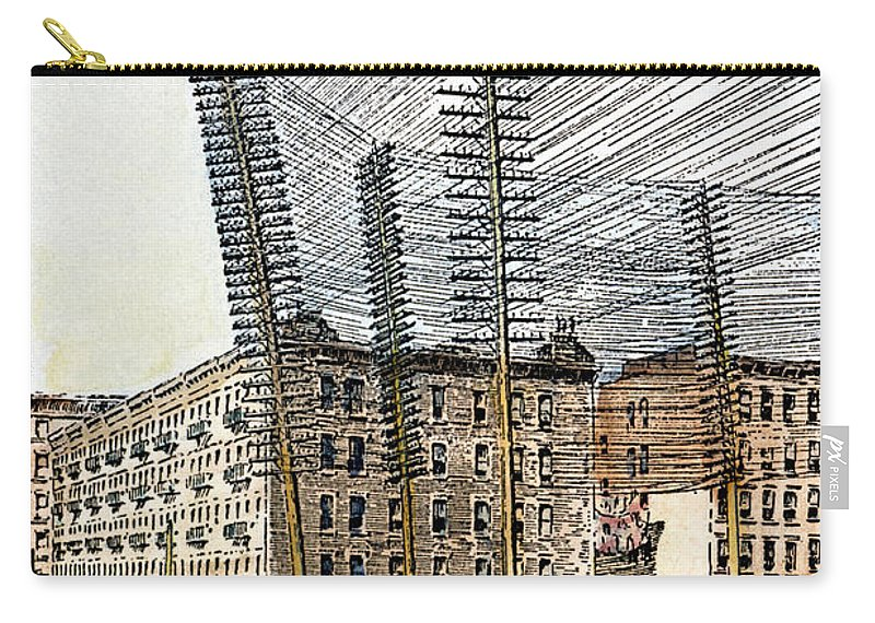 1891 Carry-all Pouch featuring the photograph Telephone/telegraph Lines by Granger