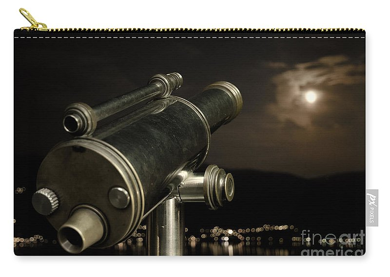 Telescope Carry-all Pouch featuring the photograph Telescope And Red Moon by Mats Silvan