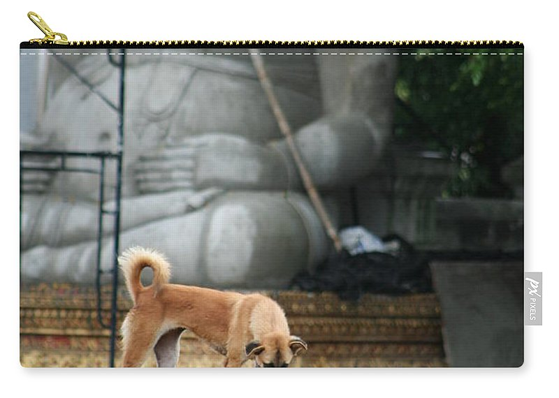 Dog Carry-all Pouch featuring the photograph Temple Dog And Buddha by Nola Lee Kelsey