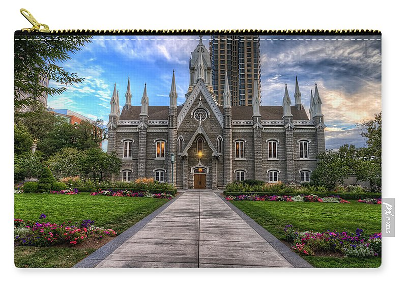 Hdr Carry-all Pouch featuring the photograph Temple Square Assembly Hall by Brad Granger