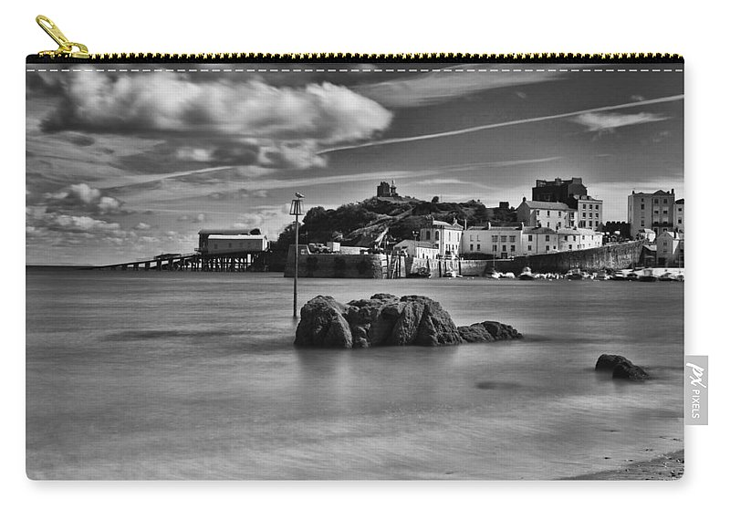 Tenby Harbour Carry-all Pouch featuring the photograph Tenby Harbour 1 Mono by Steve Purnell