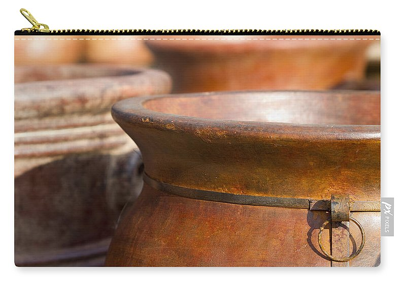 Terracotta Carry-all Pouch featuring the photograph Terracotta Mexican Pottery by Kathy Clark