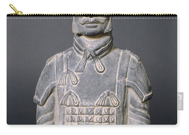 Terracotta Warrior Carry-all Pouch featuring the photograph Terracotta Warrior Soldier by Shaun Higson