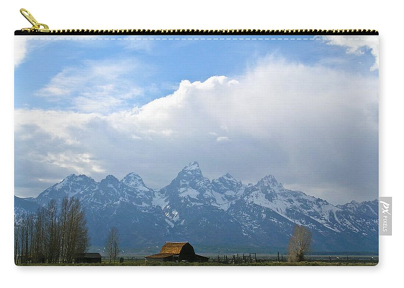 Teton Carry-all Pouch featuring the photograph Teton Mountains And Barn by Douglas Barnett