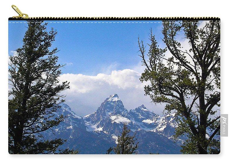 Teton Carry-all Pouch featuring the photograph Teton Through The Trees by Douglas Barnett