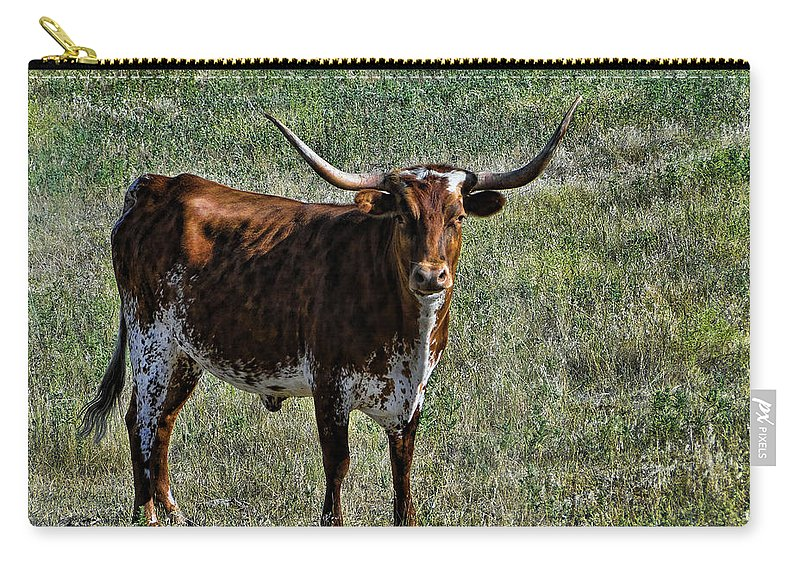 Cattle Carry-all Pouch featuring the photograph Texa Longhorn by Alan Hutchins