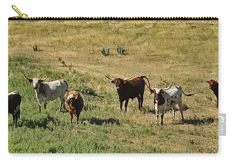Panoramic Carry-all Pouch featuring the photograph Texas Longhorns Panoramic by Alan Hutchins