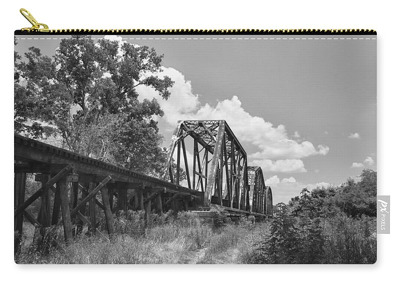 Bridges Carry-all Pouch featuring the photograph Texas Railroad Bridge by Guy Whiteley