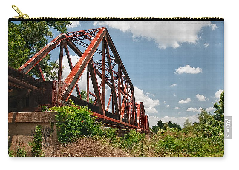 Bridges Carry-all Pouch featuring the photograph Texas Train Trestle 13984c by Guy Whiteley