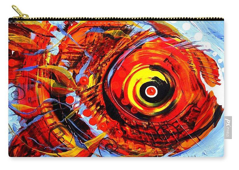 Fish Carry-all Pouch featuring the painting Textured Red Fish by J Vincent Scarpace