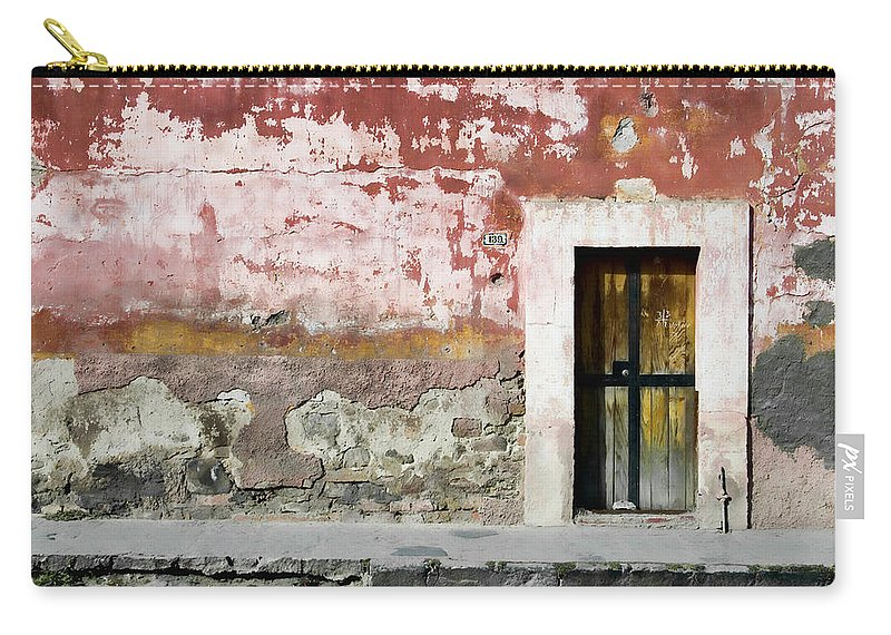 San Miguel De Allende Carry-all Pouch featuring the photograph Textured Wall In Mexico by Carol Leigh