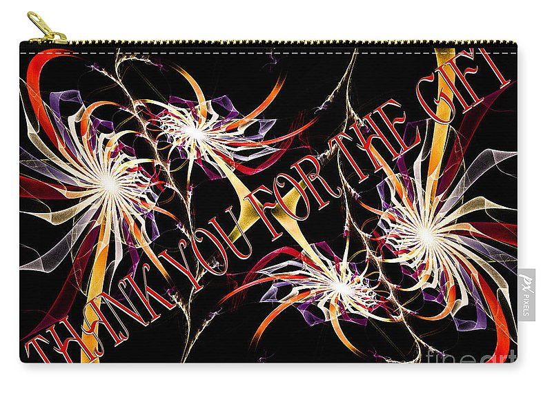 Fine Art Greeting Card Carry-all Pouch featuring the digital art Thank You For The Gift by Andee Design