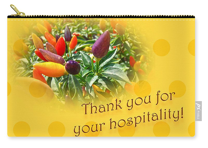 Thanks Carry-all Pouch featuring the photograph Thank You For Your Hospitality Greeting Card - Decorative Pepper Plant by Mother Nature
