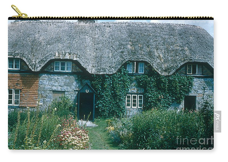 Thatched Roof Carry-all Pouch featuring the photograph Thatched Roof, England by Photo Researchers, Inc.