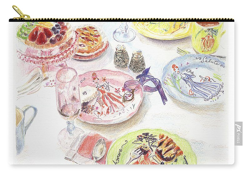 Pencils Carry-all Pouch featuring the drawing Thats Amore by Beth Saffer