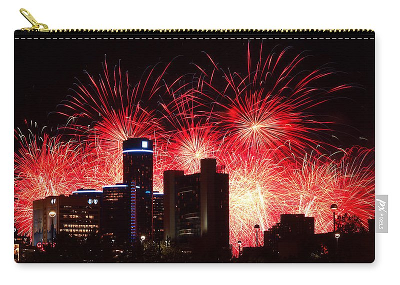 The Carry-all Pouch featuring the photograph The 54th Annual Target Fireworks In Detroit Michigan - Version 2 by Gordon Dean II