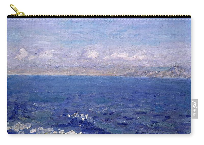 The Albanian Sea Carry-all Pouch featuring the painting The Albanian Sea by Laurits Regner Tuxen