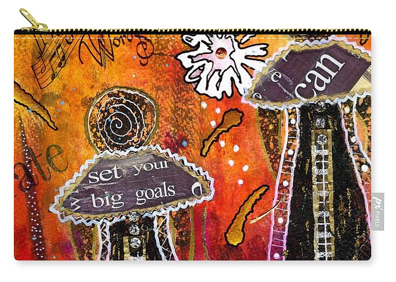 Acrylic Carry-all Pouch featuring the mixed media The Angelic Sistahs by Angela L Walker