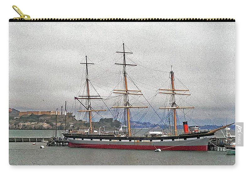 The Balclutha Ship And Alcatraz Island Carry-all Pouch featuring the photograph The Balclutha Ship And Alcatraz Island by Bill Owen