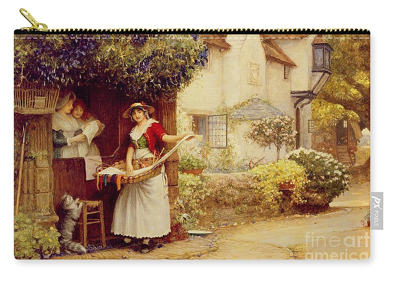 Women; Cottage; Pedlar; Wisteria; Village Life; Cat; Customer; Customers; Birdcage; Commerce; Trade; Traveller; Doorway; Victorian; Selling Songs Carry-all Pouch featuring the painting The Ballad Seller by Robert Walker Macbeth
