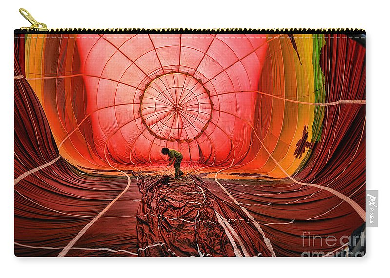 Balloon Carry-all Pouch featuring the photograph The Balloonist - Inside A Hot Air Balloon by Paul Ward