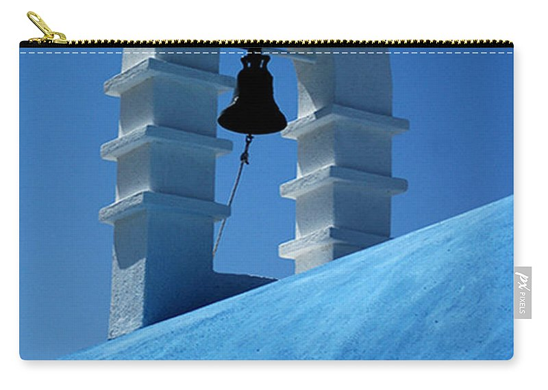 Mykonos Carry-all Pouch featuring the photograph The Bell Tower In Mykonos by Vivian Christopher