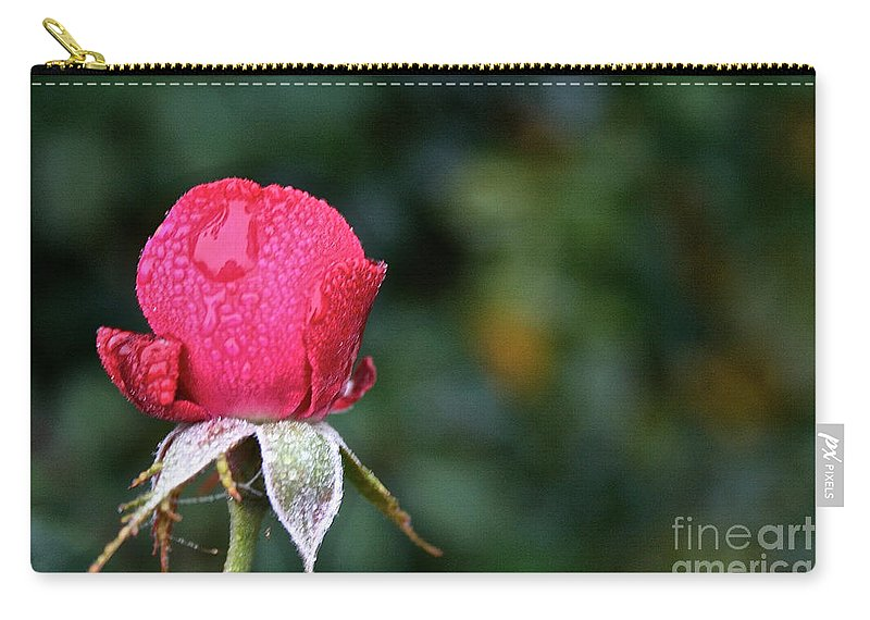 Flower Carry-all Pouch featuring the photograph The Big Rain Drop by Susan Herber