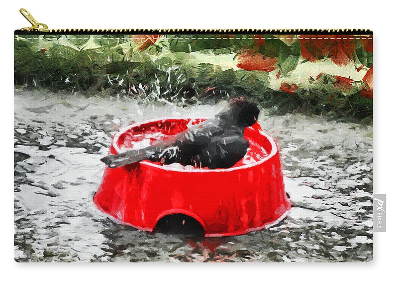 Bird Carry-all Pouch featuring the photograph The Birdbath by Steve Taylor