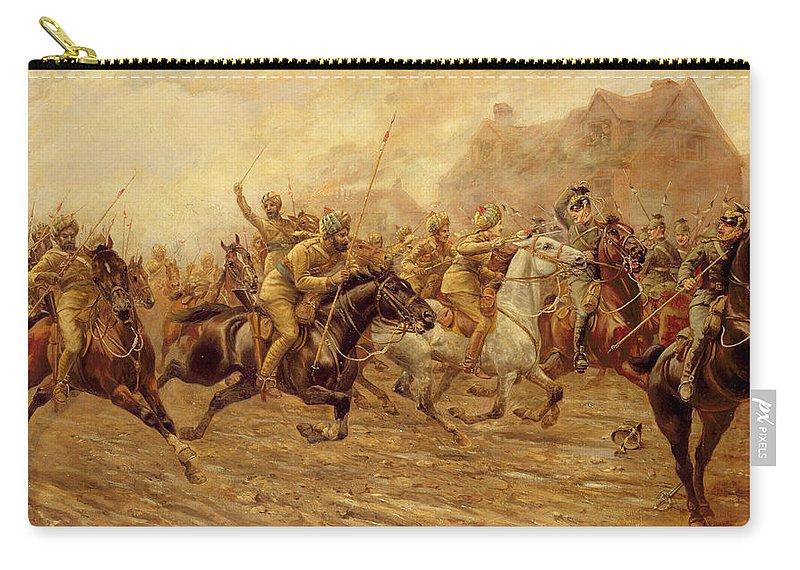 The Charge Of The Bengal Lancers At Neuve Chapelle Carry-all Pouch featuring the painting The Charge Of The Bengal Lancers At Neuve Chapelle by Derville Rowlandson